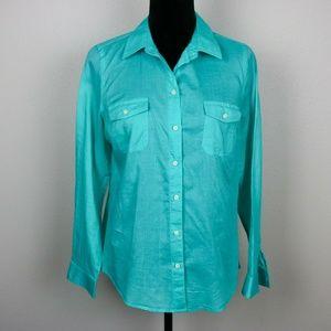 Old Navy Medium Aqua Button-Up Shirt Long Sleeve
